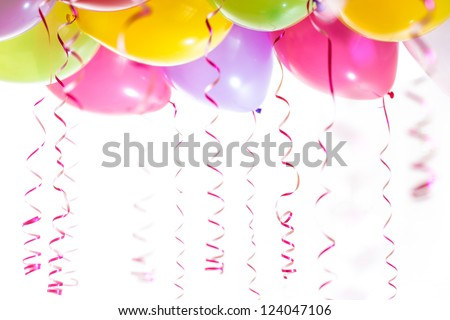 balloons with streamers for birthday party celebration isolated on white background - stock photo