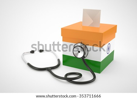 Ballot box and stethoscope for India - stock photo