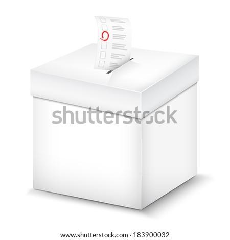 Ballot Box Isolated On White - stock photo