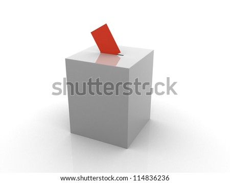 Ballot box isolated on white - 3d render illustration - stock photo