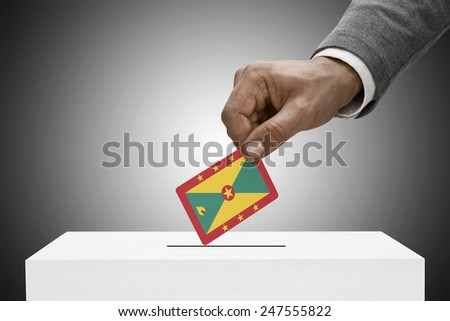Ballot box painted into national flag colors - Grenada - stock photo