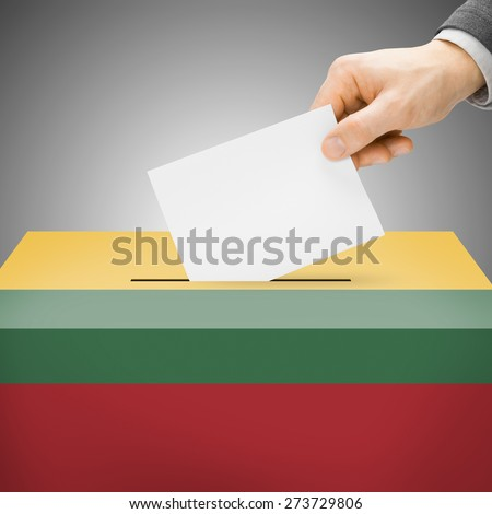 Ballot box painted into national flag colors - Lithuania - stock photo