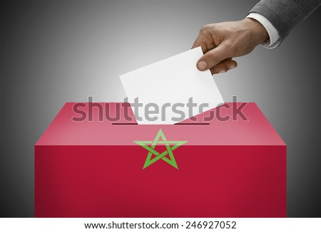 Ballot box painted into national flag colors - Morocco - stock photo