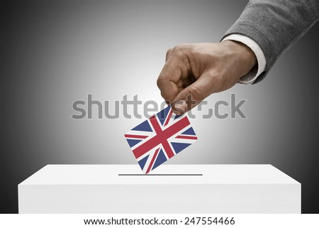 Ballot box painted into national flag colors - United Kingdom - stock photo