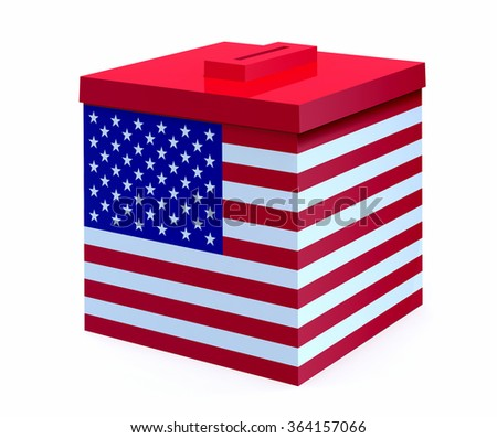 ballot box with american flag, 3d illustration