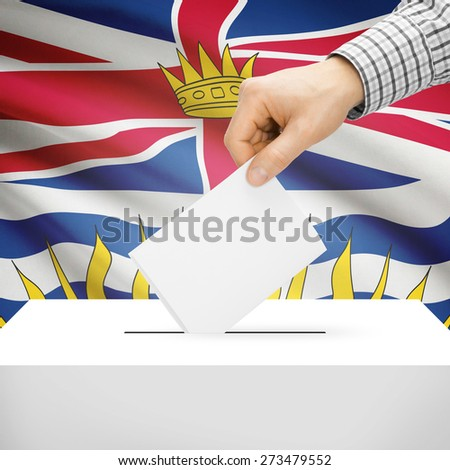 Ballot box with Canadian province flag on background series - British Columbia - stock photo