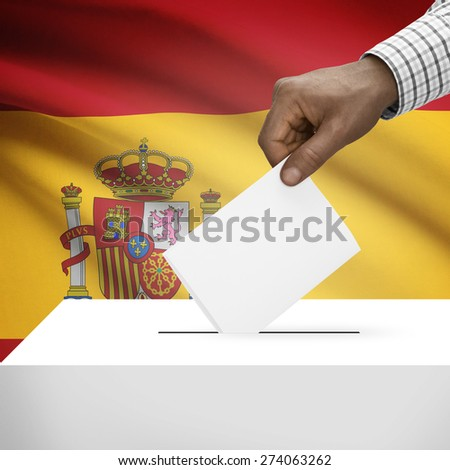 Ballot box with flag on background - Spain - stock photo