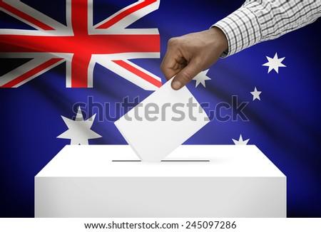 Ballot box with national flag on background - Australia - stock photo