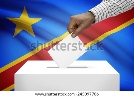 Ballot box with national flag on background - Democratic Republic of the Congo - Congo-Kinshasa - stock photo