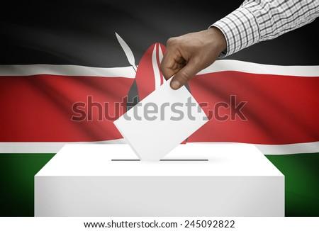 Ballot box with national flag on background - Kenya - stock photo