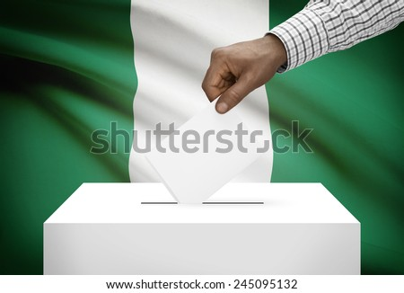 Ballot box with national flag on background - Nigeria - stock photo