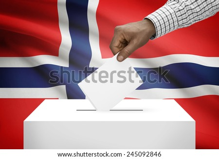 Ballot box with national flag on background - Norway - stock photo