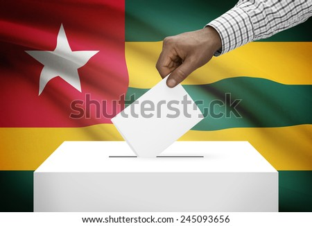 Ballot box with national flag on background - Togo - stock photo