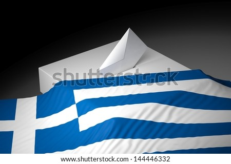 Ballot box with the flag of Greece - stock photo