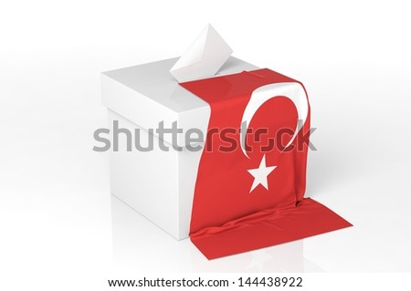 Ballot box with the flag of Turkey - stock photo