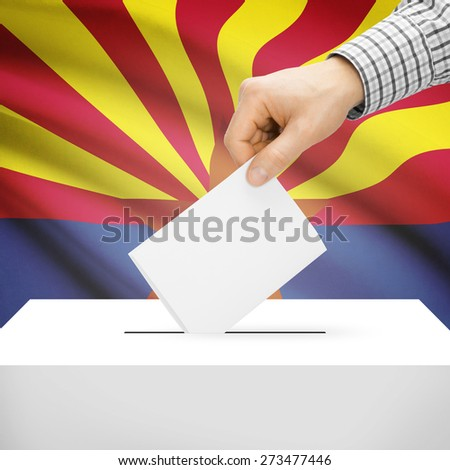 Ballot box with US state flag on background series - Arizona - stock photo