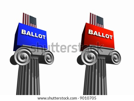 Ballot boxes in blue and red to represent the Democrats and Republicans sitting on columns. Isolated on a white background. Political - stock photo
