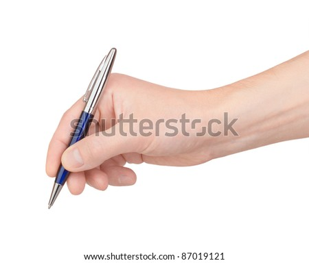 Ballpoint pen in hand on white background - stock photo