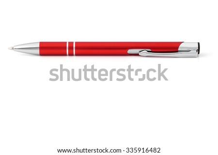 Ballpoint pen on a white background. - stock photo