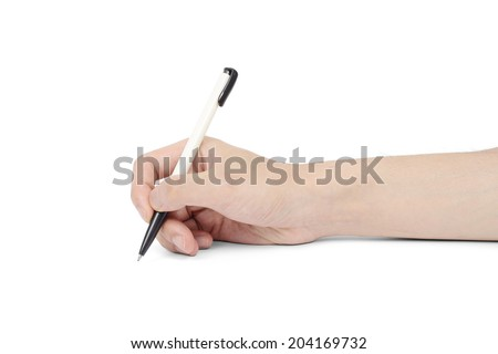 ballpoint pen on asian man's hand, isolated on white - stock photo