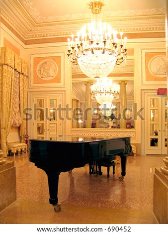 ballroom with Grand piano - stock photo