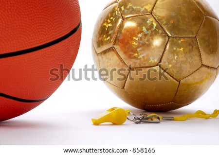 Balls and whistle on a white background 2 - stock photo