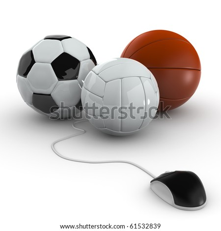 Balls for team sports with computer mouse - Soccer, Volley, basket - stock photo