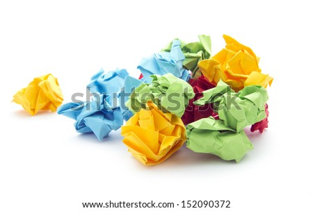 balls of crumpled paper isolated on white background