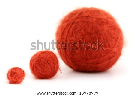 Balls of knitting red yarn (mohair) - stock photo