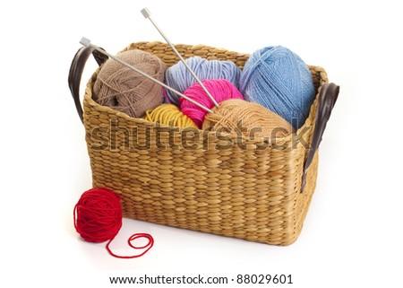 Balls of wool in basket - stock photo