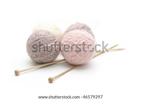 Balls of yarn isolated on white. - stock photo