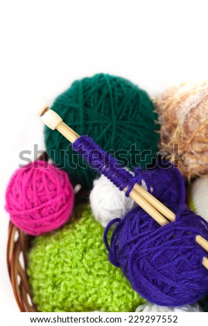 Balls of yarn on White Background. Selective focus. - stock photo