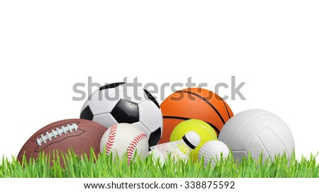 balls on a grass field isolated on white background - stock photo