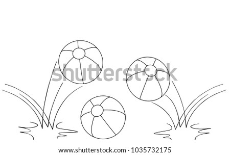 Balls Outline Drawing 3 Beach Two Of Them Bouncing
