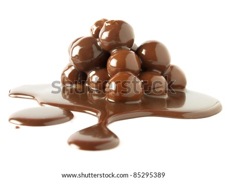 Balls with chocolate sauce - Sweet dessert