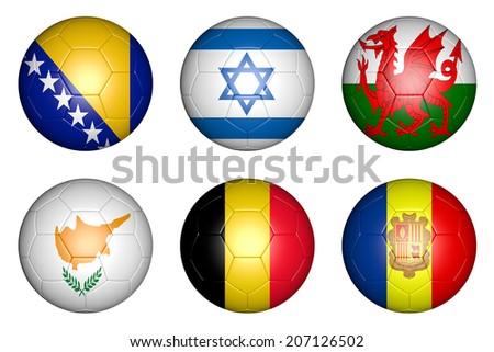 balls with flags of countries: Bosnia; Herzegovina, Belgium, Israel, Wales, Cyprus, Andorra. - stock photo