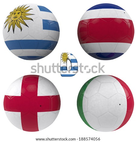 balls with flags of the football teams that make up the d group of  2014  brazil isolated with clipping path - stock photo