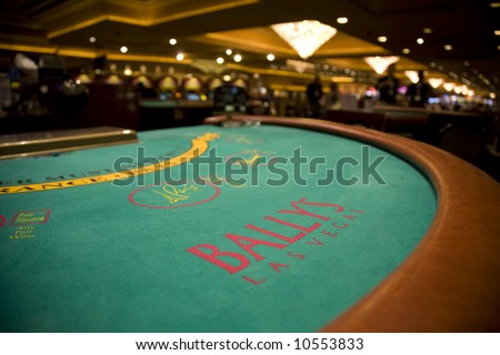 Bally's Casino, Las Vegas  March 18, 2008:  A wide angle image of a blackjack table at Bally's Casino. - stock photo