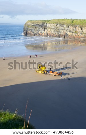 Ballybunion, county Kerry, Ireland - 28th ?September ?2016. a semi-submersible vehicle towing sea rescue craft to the sea for launching in Ballybunion ireland
