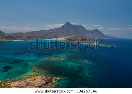 Balos beach. View from Gramvousa Island, Crete in Greece.Magical turquoise waters, lagoons, beaches of pure white sand.