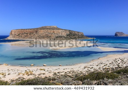 Balos Lagoon and Gramvousa island with crystal clear water and exotic beaches on Crete, Greece