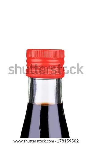 Balsamic vinegar bottle closeup. - stock photo