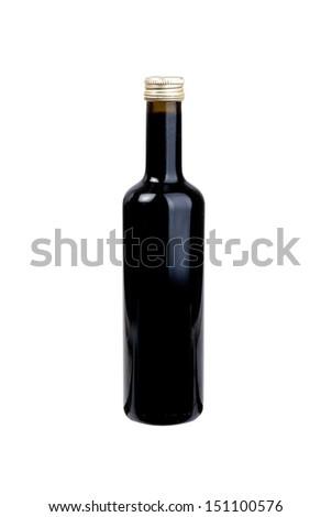 balsamic vinegar bottle isolated on the white background  - stock photo