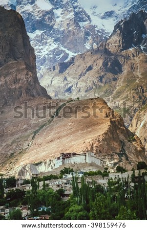 Balti ( Baltit ) Fort - an ancient fort in the Hunza valley in Karimabad, Baltistan, Pakistan - stock photo