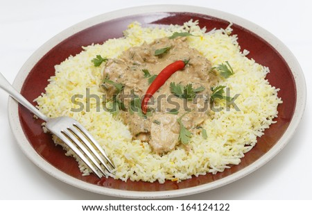 Balti chicken pasanda curry served on a bed of saffron rice, garnished with coriander leaves and a red chilli. - stock photo
