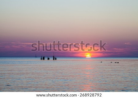 Baltic sea at magenta sunset with sun behind clouds while calm windless weather. There are ducks floating on water and parts of old wooden destroyed pier in background.