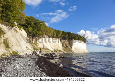 Baltic Sea coast with famous chalk cliffs of Rugia island, Germany