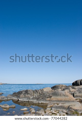 Baltic sea meets rocks in stockholm archipelago - stock photo