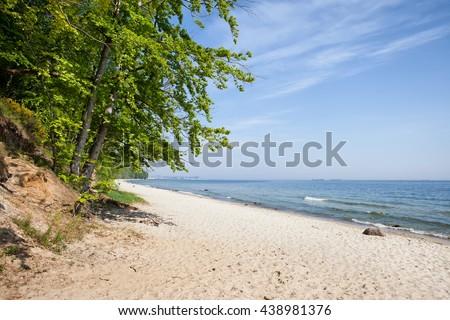 Baltic Sea sandy beach in city of Gdynia, Poland - stock photo