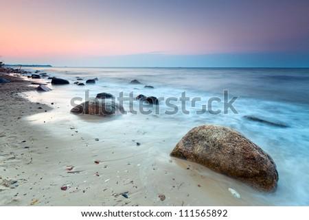 Baltic sea scenery at sunset, Poland - stock photo
